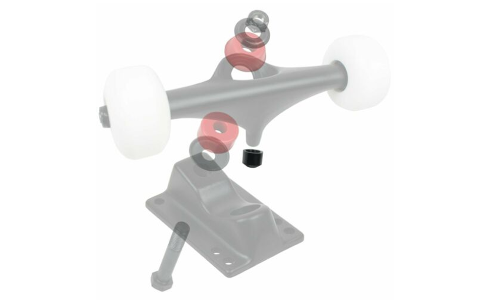Show where the pivot cup is located on a skateboard truck
