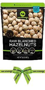 raw blanched hazelnuts bag