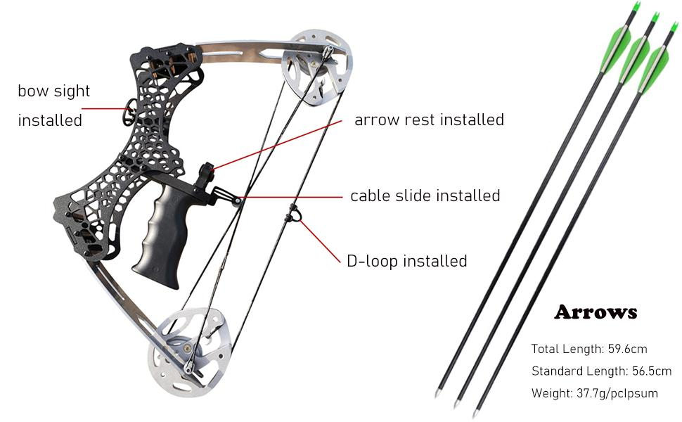 Archery Mini Compound Bow and Arrow Set 35lbs Complete Compound Bow Kits Right and Left Hand Bow