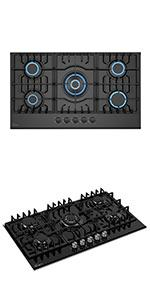 30 inch gas cooktop with 5 burners