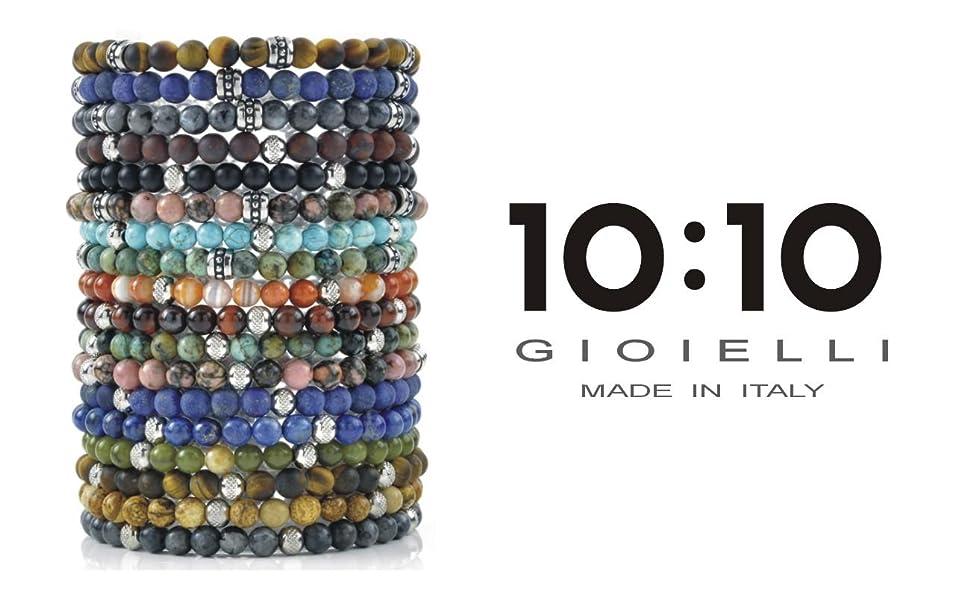10:10 Bracciali in acciaio anallergico e pietre naturali, bracciale per uomo e donna MADE IN ITALY