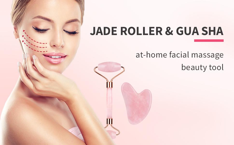 Natural Jade Roller for Face theraband roller massager skin care fridge gua sha set ice roller face