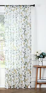 Tollpiz sheer floral curtains flower butterfly printed curtain, yellow, set of 2 panels
