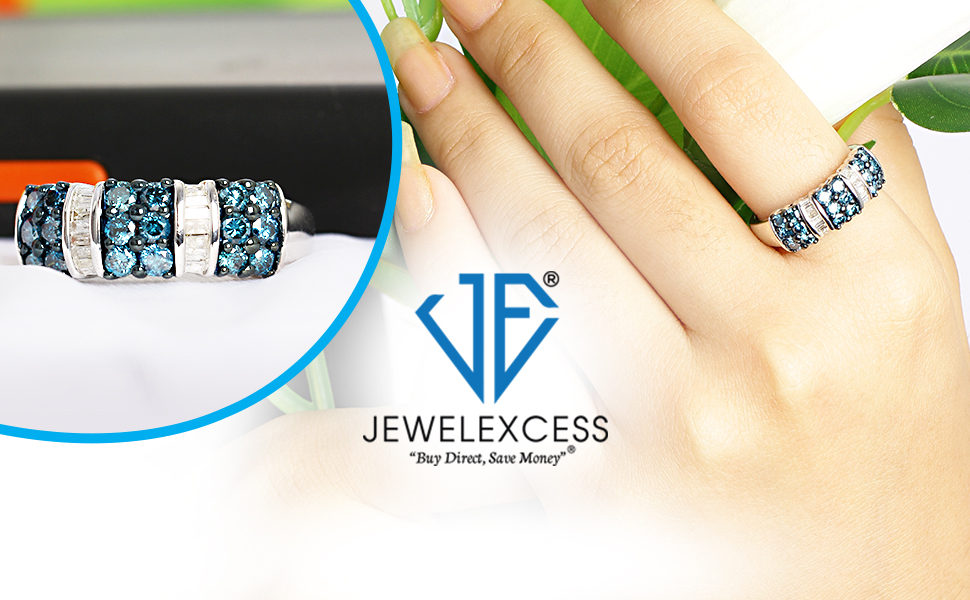 Jewelexcess Blue Diamond 1 carat ring and Logo