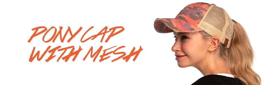 Pony cap with mesh