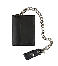 levis trifold chain wallet