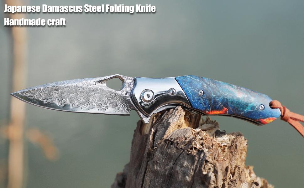 Japanese Damascus Steel Folding Knife