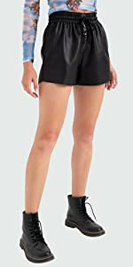 faux leather shorts for women petite to plus size