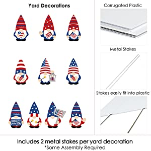 Red, White and Blue Gnome Lawn Decorations