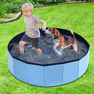MorTime Foldable Dog Pool Portable Pet Bath Tub Large Indoor & Outdoor Collapsible Bathing Tub