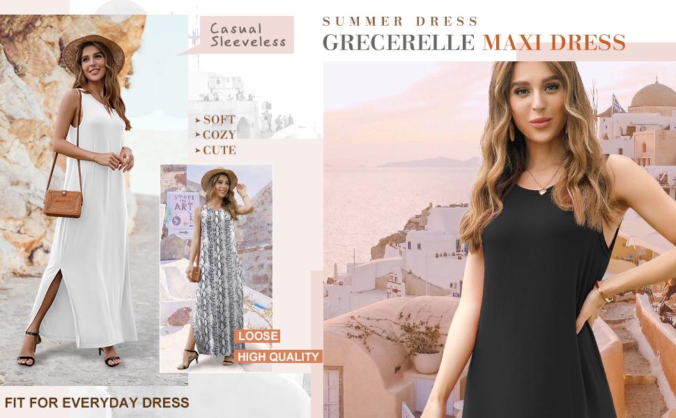 Women's Summer Casual Long Dress Sleeveless Racerback Side Split Maxi Dresses