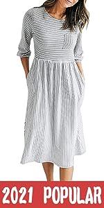 3/4 Sleeve Stripe Dress