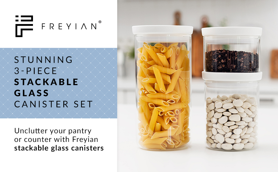 Stunning 3 piece stackable glass container set