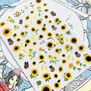 Sunflowers Nail Water Stickers Spring Simple Flowers Bee Transfer Slider Natural Floral Nails Art