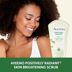 Aveeno Positively Radiant Skin Brightening Facial Scrub exfoliates to reveal brighter skin