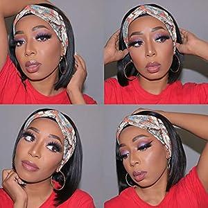 headband wig short bob human hair wigs for black women