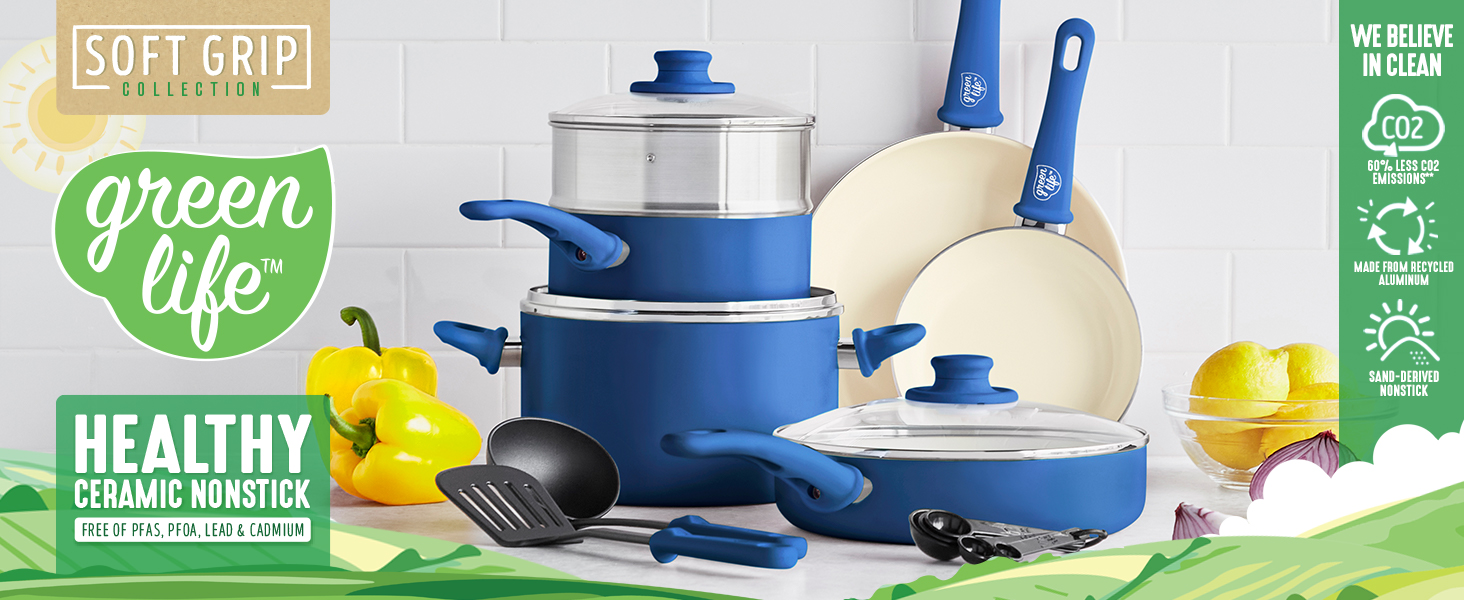 GreenLife, healthy ceramic nonstick, easy clean, stay cool, comfortable, colorful, dishwasher safe