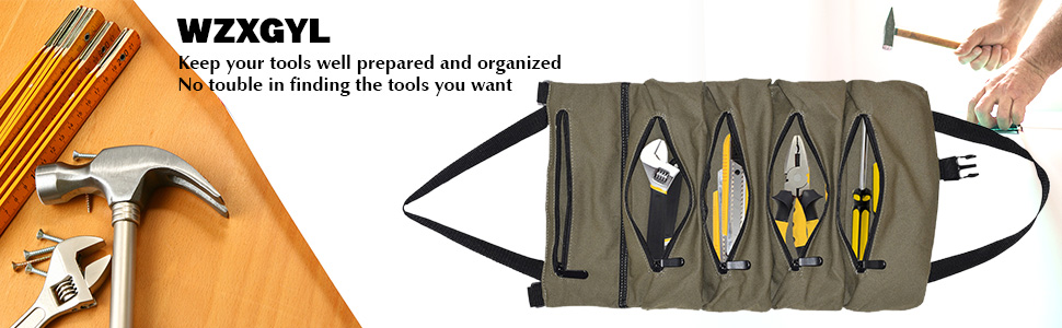 tool roll up bag army green