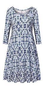 Luranee Womenamp;amp;#39;s Flowy 3/4 Sleeve Tunic Dresses