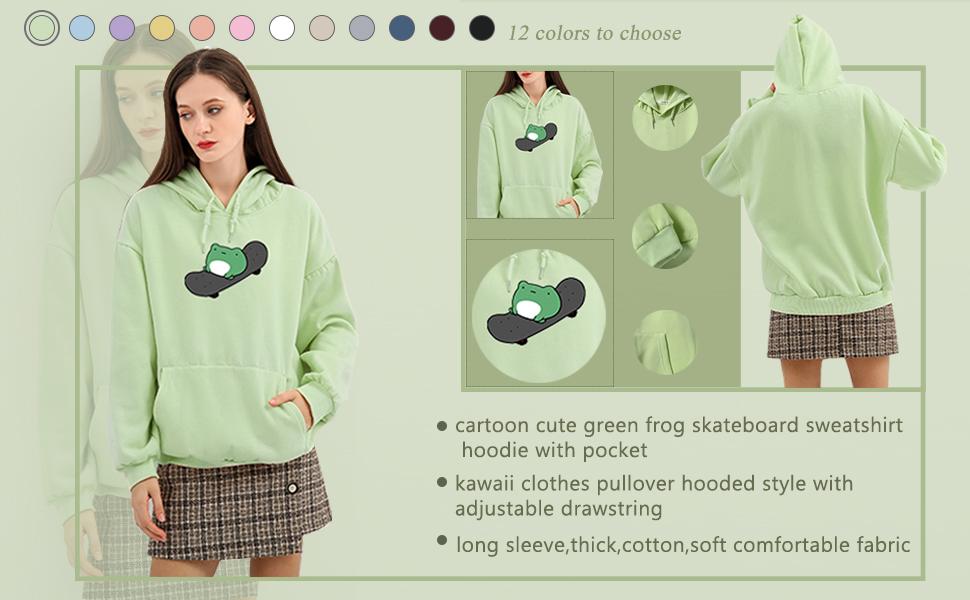 KEEVICI Women's Cute Sweatshirts Skateboarding Frog Long Sleeve Cotton Hoodie Pullover
