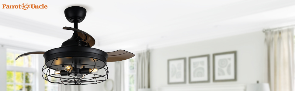 parrot uncle retractable ceiling fan with light