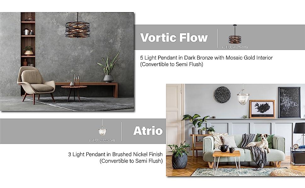 vortic flow, atrio, gold pendant light