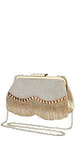 Damen Abendtasche Gold Clutch Bag Strass Handtasche Ketten Taschen Kleine Umhängetasche