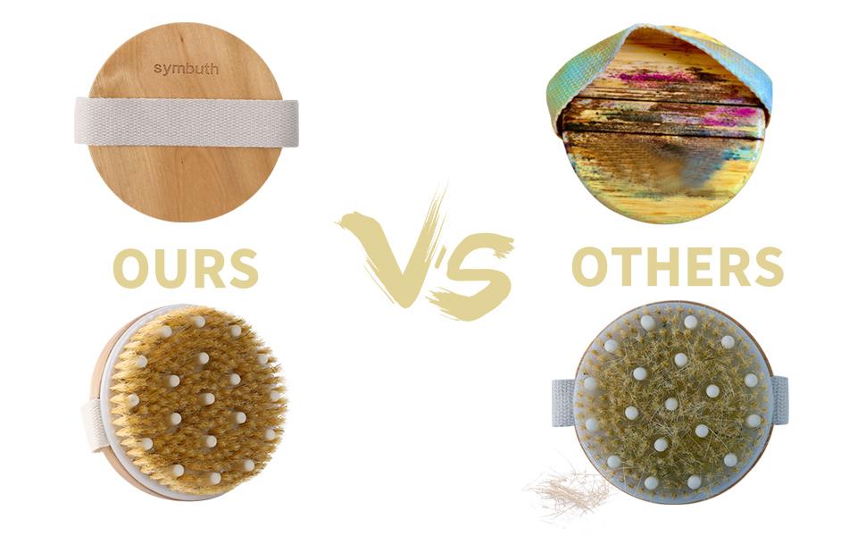 our dry brushing body brush exfoliating mitt set VS other body brush