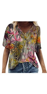 Colorful Flower Printed Loose Blouses(S-3XL)