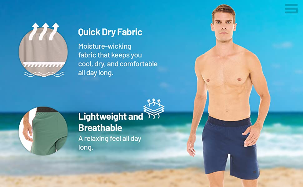 Moisture wicking quick dry fabric to keep you cool and comfy. Lightweight and breathable fabric.