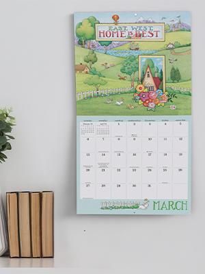 Wall calendar hanging above desk