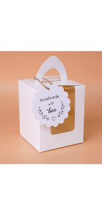 Mudrit White Cupcake Boxes, Single Cupcake Carrier with Window Insert and Handle