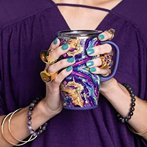 swig life purple reign travel mug coffee tumbler with handle and lid cute gift best insulated women