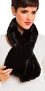 Fur Collar Scarf for Women Faux Fur Scarves Neck Shrug for Spring Fall Coat Dress