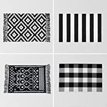 Checkered rugs, bohemian rugs, striped rugs, fringed rugs