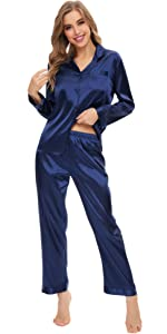 Womens Button Down Satin Pajama Set