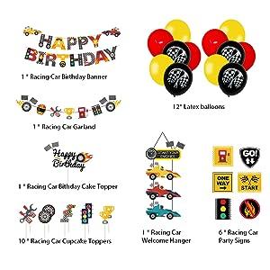 let's go racing birthday decoration