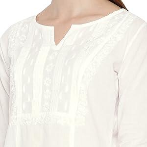 Ada Hand Embroidered Chikankari White Cotton Kurta Kurti