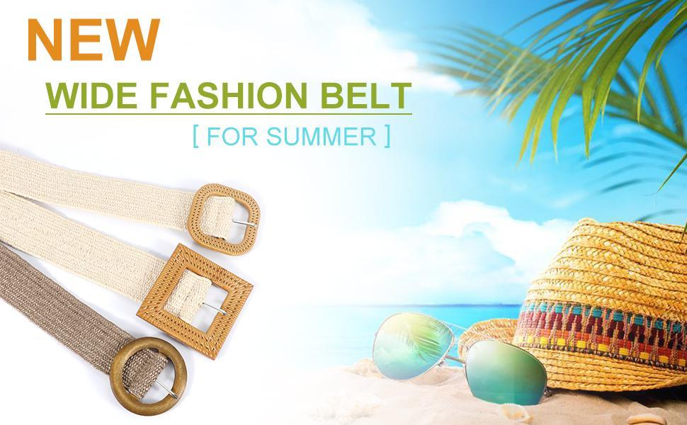 Straw Woven Elastic Stretch Waist Belt