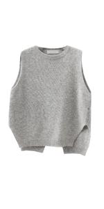 Women Split Back Pullover Baggy Knitted Sweater Vest