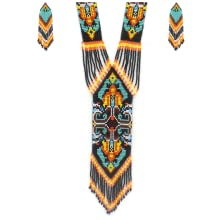Image of a Long Traditional Native american Necklace With highly detailed Beaded Pattern