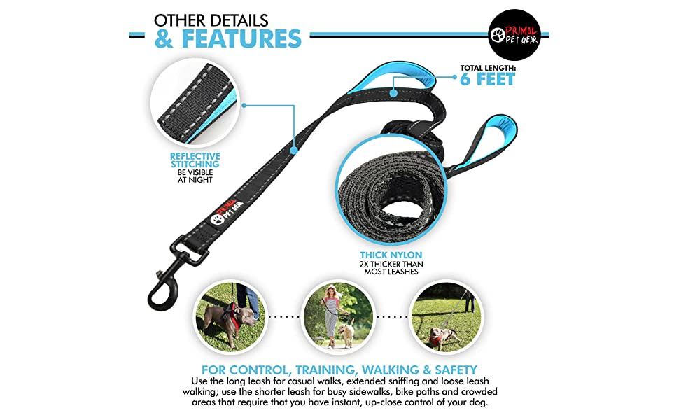 Primal Pet Gear 6ft Double Handle Dog Leash for Large and Medium Dogs