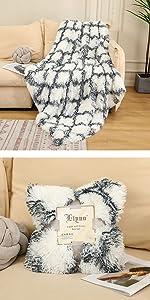 geometric plaid faux fur blanket plush fuzzy bed throw blanket