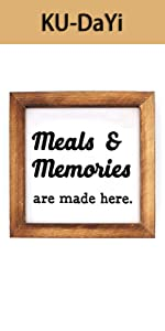 Meal and Memories are Made Here Framed Block Sign Rustic