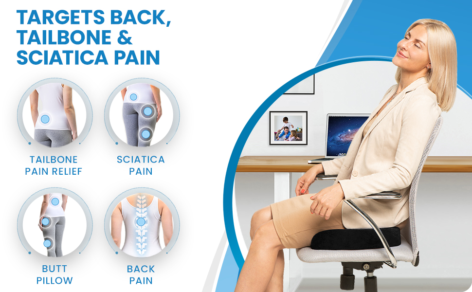 Office chair cushion targets back, tailbone, and sciatica pain