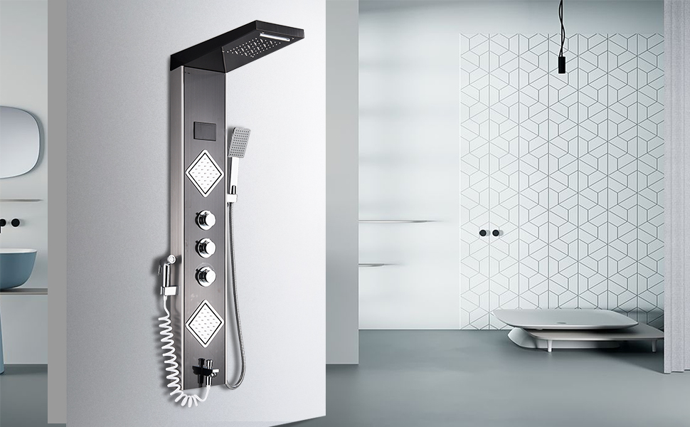 shower panel waterfall jet shower panel tower system bathroomled rainfall jets tub spout