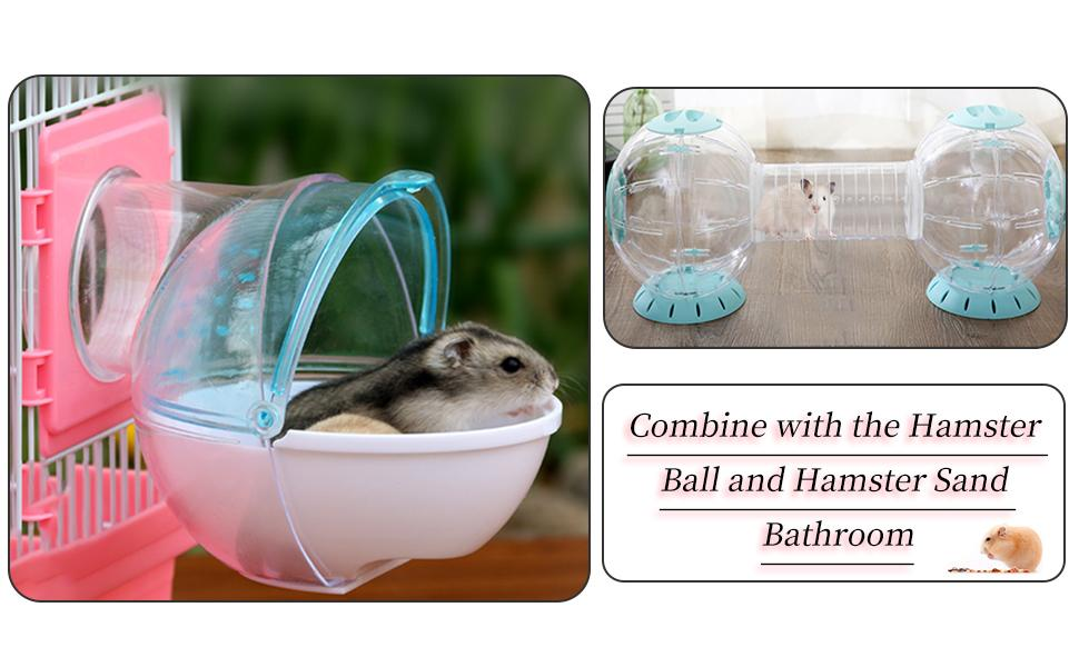 It can be matched with hamster ball and hamster sand bathroom.