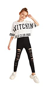 Romwe Gril's Graphic Print Short Sleeve Crop Top and Ripped Legging Pants Set 2 Piece Outfit