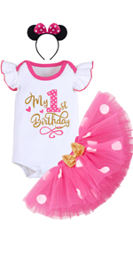 Mouse 1st Birthday Outfit Baby Girls Mouse Birthday Party Supplies First Birthday Outfit