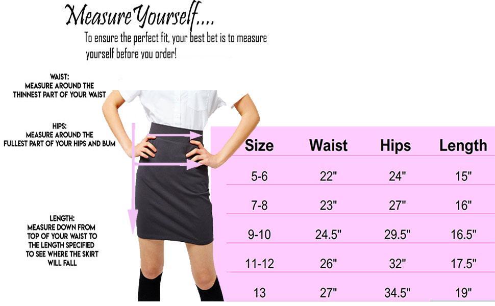 Kid Pencil Skirt Size Chart